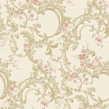 Ivory Satin/Champagne/White Scroll Wallcovering by York