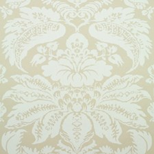 Beige Damask Wallcovering by Brunschwig & Fils