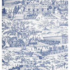 Blue Toile Wallcovering by Brunschwig & Fils