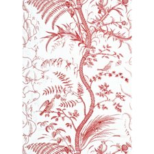 Red Toile Wallcovering by Brunschwig & Fils