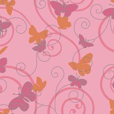 Soft Pink/Bright Pink/Orange Animals Wallcovering by York