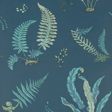 Indigo/Teal Botanical Wallcovering by G P & J Baker