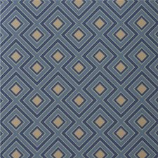 Teal Geometric Wallcovering by G P & J Baker