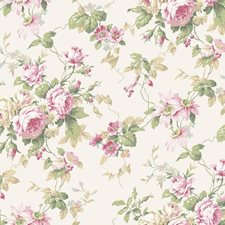 White/Light to Dark Pink/Pale Blue Floral Medium Wallcovering by York