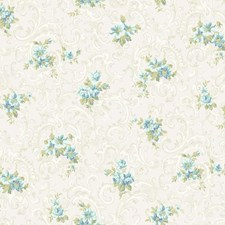 Off White/White/Aqua Floral Wallcovering by York