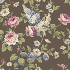 Dark Brown/Bright Blue/Off White Floral Wallcovering by York