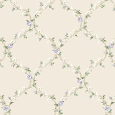 Pearlescent White/White/Purples Floral Wallcovering by York