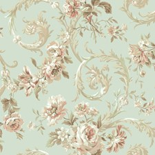 Spa Blue/Pearl Floral Medium Wallcovering by York