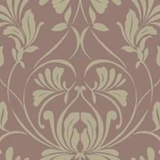 Lilac/Grey/Metallic Gold Damask Wallcovering by York