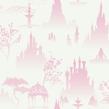 White/Pink Toile Wallcovering by York
