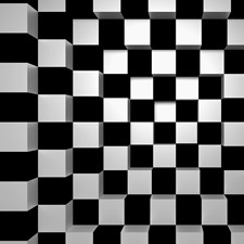 DM968 Black & White Squares Wall Mural by Brewster