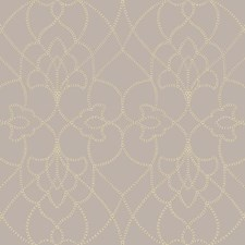Champagne Pearl/Rich Cream/Rose Gold Metallic Damask Wallcovering by York
