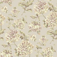 Soft Silver/Light to Dark Purple/Cream Floral Wallcovering by York