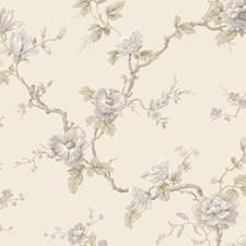 Cream/Lavender/Aqua Floral Wallcovering by York