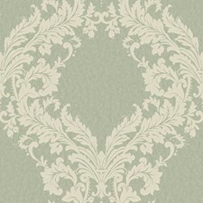 Pale Aqua/Light Taupe/Off White Damask Wallcovering by York