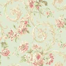 Light Blue/Peach/Coral Floral Wallcovering by York