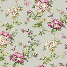 Silver Satin/Pinks/Magenta Botanical Wallcovering by York
