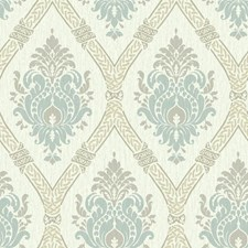 Cream/Taupe/Aqua Damask Wallcovering by York