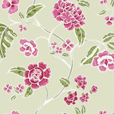 Beige Satin/Pink/Red Floral Wallcovering by York