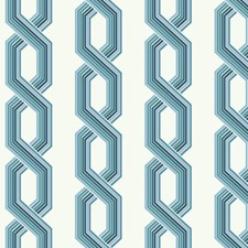 Variations Of Blue On White Geometrics Wallcovering by York