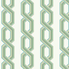 Variations Of Blue/Green and Beige On White Geometrics Wallcovering by York