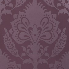 Aubergine Damask Wallcovering by Groundworks
