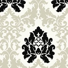 Off-white Damask Wallcovering by Brewster