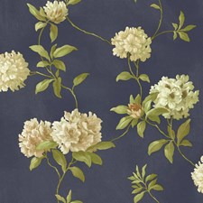 Navy Blue/Gold/Pale to Dark Yellow Floral Wallcovering by York