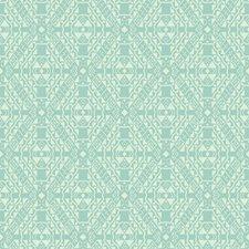Turquoise/White Geometrics Wallcovering by York