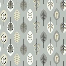 Metallic Silver/White/Black Leaf Wallcovering by York