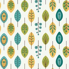 White/Teal Blue/Mustard Yellow Leaf Wallcovering by York