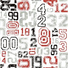 White/Red/Black Sports Wallcovering by York