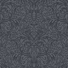 Steel Grey/Charcoal Black Scroll Wallcovering by York