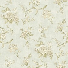 Pale Water Blue/Off White/Ecru Floral Medium Wallcovering by York