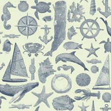 White/Shades Of Marine Blue Animals Wallcovering by York