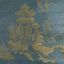 Teal Chinoiserie Wallcovering by Brunschwig & Fils