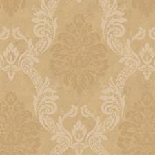 Soft Pearled Gold Metallic/Deep Cream/Caramel Damask Wallcovering by York