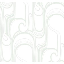 Silver Metallic/White Curves Wallcovering by York