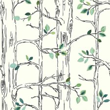 White/Black/Grey Botanical Wallcovering by York