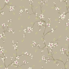 Metallic Taupe/White/Light Purple Floral Wallcovering by York