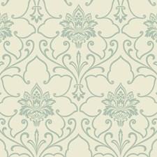 Cream/Light Blue Glitter Damask Wallcovering by York