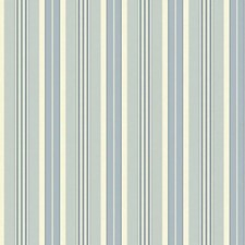Cream/White/Medium and Dark Blue Stripes Wallcovering by York