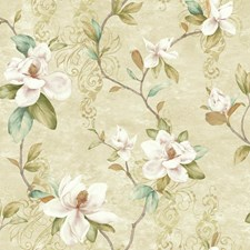 Beige/Cream/Pink Floral Wallcovering by York