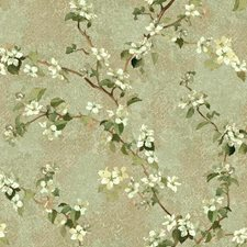 Light Green/Beige/Tan Botanical Wallcovering by York