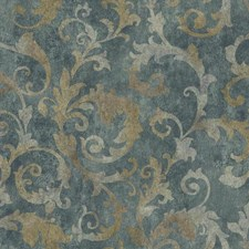 Dark Blue/Silver/Gold Traditional Wallcovering by York