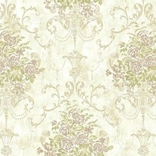 Clouded White/Antique Gold Shine/Muted Lilac Damask Wallcovering by York