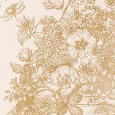 Gold Floral Stylized Wallcovering by Clarke & Clarke