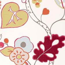 Raspberry Floral Large Wallcovering by Clarke & Clarke