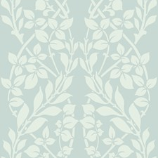 Light Blue/White/Metallic Botanical Wallcovering by Kravet Wallpaper
