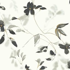 Ivory/Black/Gold Botanical Wallcovering by Kravet Wallpaper